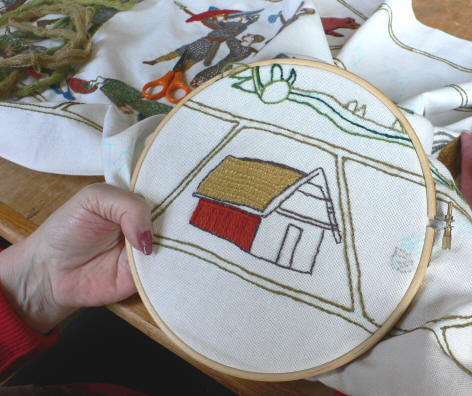 Embroidering the battle of Fulford tapestry